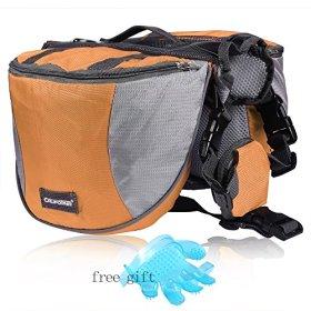 Cade Outdoor Hiking Camping Training Adjustable Dog Saddle-harness Bag Large Capacity Dog Backpack with Reflective Stripe (L, Orange)