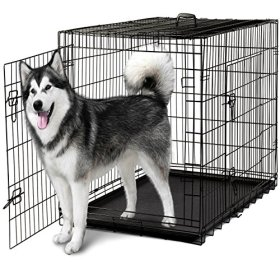 Oxgord 48″ Wire Metal Cage Pet Cat/Dog Double Door Kennel Crate, 48″ by 29″ by 32″