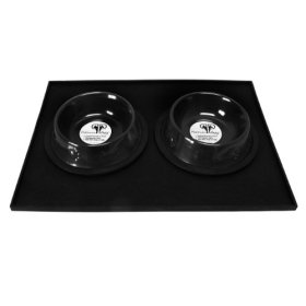 Platinum Pets Heavy-Duty Silicone Feeding Puppy Mat with 2 6-Ounce Embossed Puppy Bowls, Black