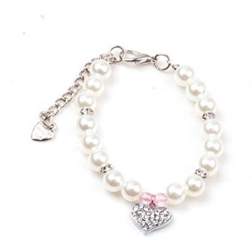 smalllee_lucky_store©Small Cat Dog Handmade Pearl Necklace Pet Jewelry Pink Crystal Heart,Size S