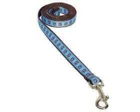 Sassy Dog Wear 4-Feet Blue/Brown Puppy Paws Dog Leash, X-Small