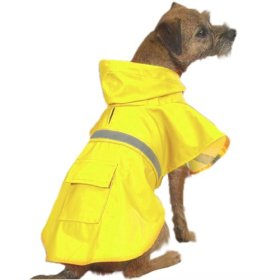 Dog Rain Coat – Yellow w/Reflective Stripe – XX-Large (XXL)
