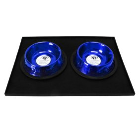 Platinum Pets 1 Cup Embossed Non-Tip Stainless Steel Puppy Bowls with Black Feeding Mat, Sapphire Blue