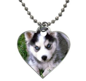 lovely husky puppies lying on the green grass land Pet Dog Tag Heart Shaped (2 sides)