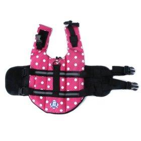 WXBUY Pet Life Vest Dogs Life Jacket Outward Hound Saver Polka Dot Pink XXS