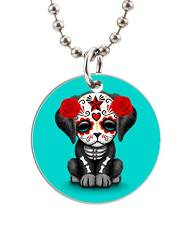 Sugar Skull Puppy Customized Round Dog Tag Pet Tags Dogtag (One Side) Necklace Charm Unique Gift