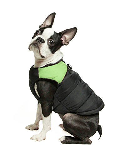 Gooby Padded Cold Weather Vest for Small Dogs with Safe Fur Guard Zipper Closure, Green, Medium