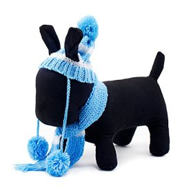 PETCIRCLE Design-New Cute Funny Soft Warm Winter Hat Scarf for Dog Puppy Cat (XS, Blue)