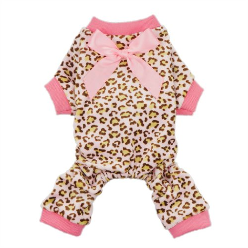 Fitwarm® Leopard Ribbon Soft Velvet Dog Pajamas for Pet Dog Clothes Comfy Pjs, Medium