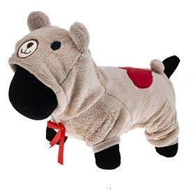 PetWell Pet Dog Bear Type Warm Fleece Hooded Coat Jumpsuit Brown S