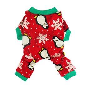 Fitwarm Cute Penguin Xmas Pet Clothes for Dog Pajamas Soft Christmas PJS, Red, Medium