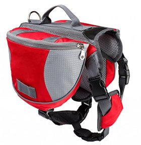 Pettom Saddle Bag Backpack for Dog, Tripper Hound Bag Travel Hiking Caming (Red, M)