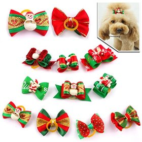 Berry® Chirstmas Nylon Mixed Color Dog Cat Pet Hair Bows with Rubber Bands Hair Grooming Accessories 20pcs