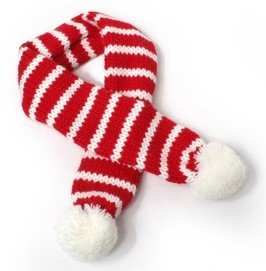 Holiday Candy Cane Striped Red/White Scarf for Dogs in size Large (fits neck 16″-19″)