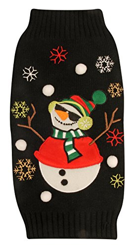 New York Dog Ugly Holiday Sweater for Pets, Black Snowman, Medium