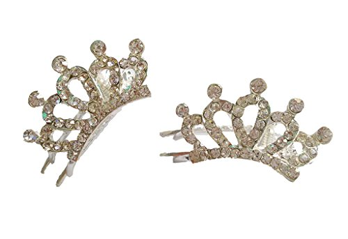 PET SHOW Crown Rhinestone Girls Pet Cat Dog Hair Clips Grooming Accessories Color Clear+Silver Pack of 2