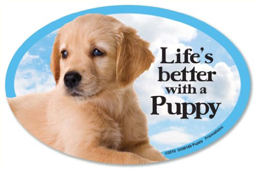 Life's Better with a Puppy Oval Dog Magnet for Cars