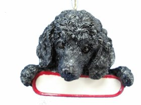 """Poodle Ornament Black """"Santa's Pals"""" With Personalized Name Plate A Great Gift For Poodle Lovers"""