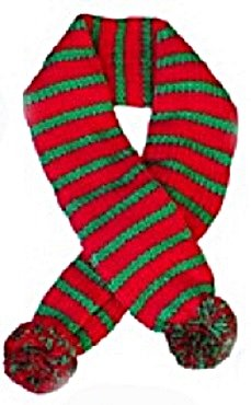 Holiday Candy Cane Striped Red/Green Scarf for Dogs in size Large (fits neck 16-19″)