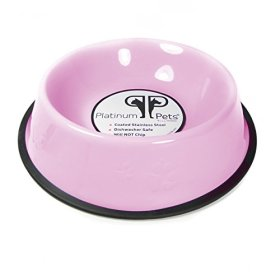Platinum Pets 1-Cup Embossed Non-Tip Puppy Bowl, Cotton Candy Pink