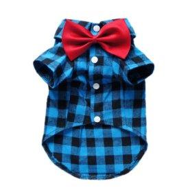 Soft Casual Dog Plaid Shirt Gentle Dog Western Shirt Dog Clothes Dog Shirt + Dog Wedding Tie Free Shipping,Blue,S