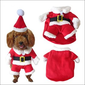 NACOCO Pet Christmas Costumes Dog Suit with Cap Santa Suit Dog Hoodies (Medium)