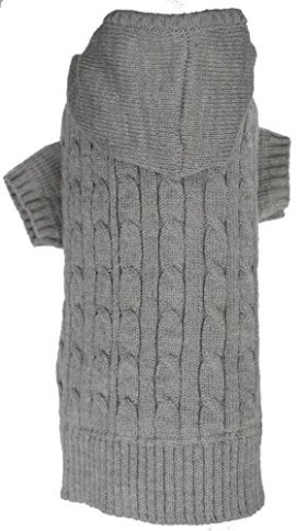 Grey Dog Classic Cable Pet Sweater Hoodie for Dogs, XX-Large (XXL) Size