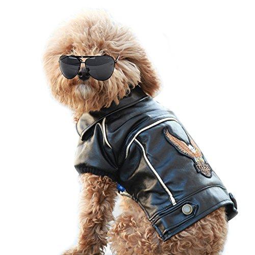 NACOCO Pu Leather Motorcycle Jacket, Dog Puppy Pet Clothes Leather Jacket, Watherproof (S)