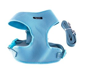 Breathable Mesh Body Safety Dog Puppy Harness Vest with Leash by Prime Pet Source – Turquoise X-Small