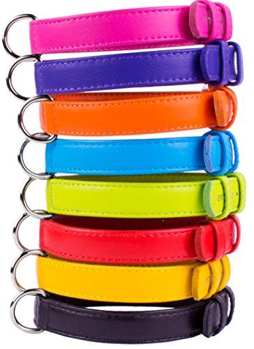 Leather Dog Collar Puppy Small Medium Large Soft Padded Pink Black Purple Orange Red (Purple, Neck fit 11″ – 14″)