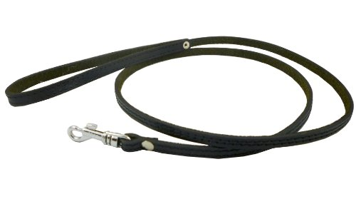 4′ Genuine Leather Classic Dog Leash Black 3/8″ Wide For Small Breeds and Puppies