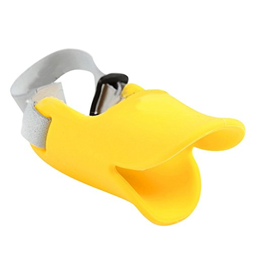 NACOCO Anti Bite Duck Mouth Shape Dog Mouth Covers Anti-called Muzzle Masks Pet Mouth Set Bite-proof silicone material (Yellow, S)