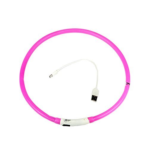 Artempo USB Rechargeable Flashing Necklace for Dogs, Splash Proof, Fit a 13″ to 24″ Dog Neck-70cm Long, Color Pink