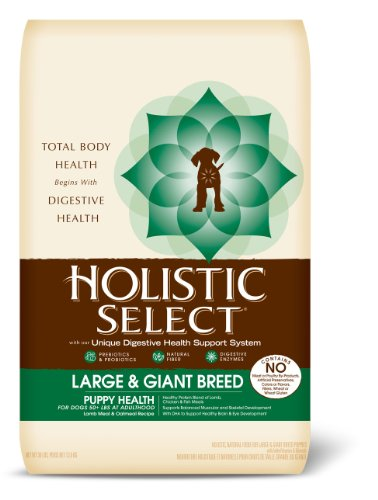 Holistic Select Natural Dry Dog Food, Large & Giant Breed Puppy Lamb & Oatmeal Recipe, 30-Pound Bag