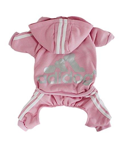 Scheppend Adidog Pet Clothes for Dog Cat Puppy Hoodies Coat Winter Sweatshirt Warm Sweater,Pink Medium