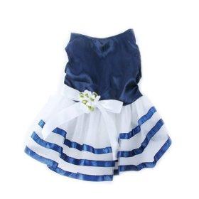 Urparcel Pet Dog Tutu Dress Princess Stripe Bow Lace Skirt Puppy Clothes Apparel S