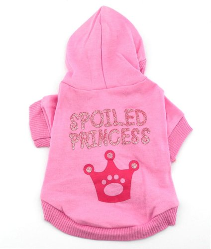SMALLLEE_LUCKY_STORE Pink Hoodie Hooded Christmas T Tee Shirt Small Dog Christmas Clothes Costume – Spoiled Princess XS