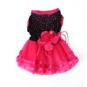 PanDaDa Pet Dog Cat Glitter Red&Black Tutu Dress Lace Skirt L