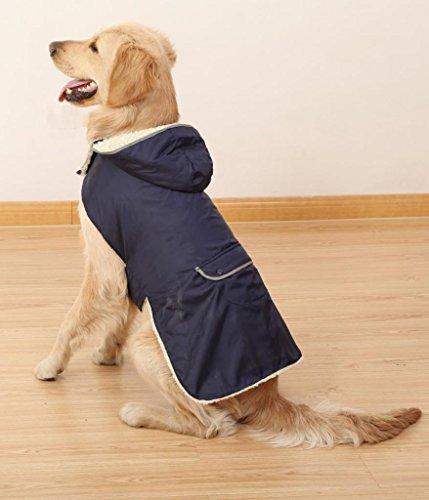 4 Pets Dog Clothes Pet Coat Large Dog Apparel Removable Hoodies Back Pocket & Reflective Design