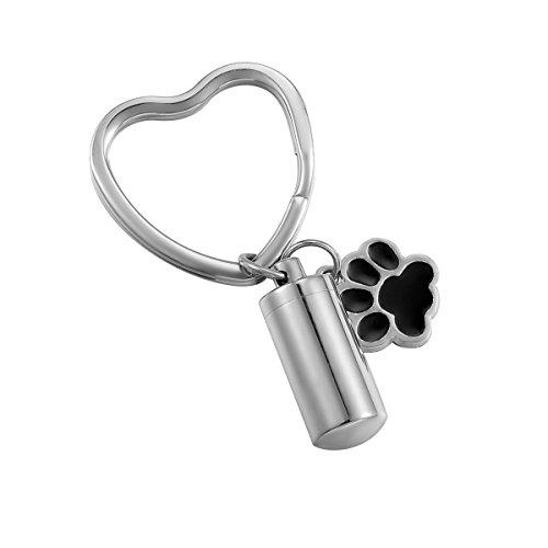 HooAMI Pet Cremation Urn Keychain Puppy Dog Paw Cylinder Memorial Keepsakes Stainless Steel Heart Keyring
