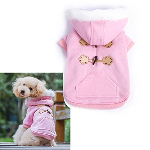 Pink Warm Winter Fashion Pet Dog clothes with hoodies Luxury quality size S