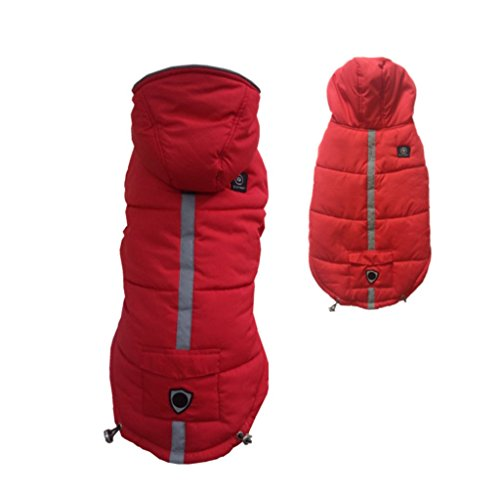 PetsLove Doggie Down Jacket Coat Pet Clothes Dog Warm Clothing for Winter Red L