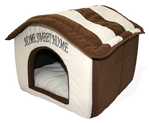 Best Pet Supplies Home Sweet Home Bed, Beige with Brown Strips