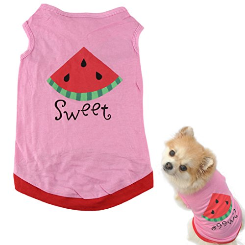 HP95(TM) New Summer Cute Small Pet Dog Puppy Cat Clothes Watermelon Printed Pink Vest (M)