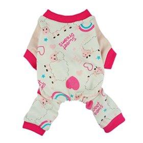 Fitwarm Soft Cotton Sweet Dream Sheep Pet Clothes Dog Pajamas Clothes Shirts, Pink, Medium