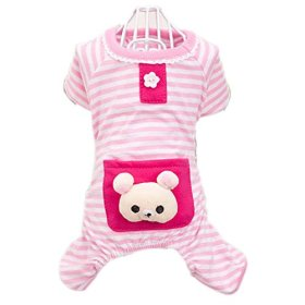 Urparcel Small Pet Dog Stripes Pajamas Coat Cat Puppy Clothes Apparel Clothing Pink XX-Small