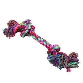 Yosoo 17cm Colorful Strong Washable Braided Bone Rope Cotton Knot Chew Toy, Soft and Funny Pet Toy Ropes for Your Lovely Sweet Pet Puppy Dog Cat, (Color By Random) (1 Piece)
