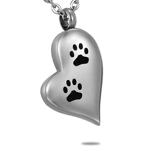 HooAMI Pet Cremation Urn Necklace Puppy Dog Paw on Heart Pendant Keepsake Memorial Jewelry