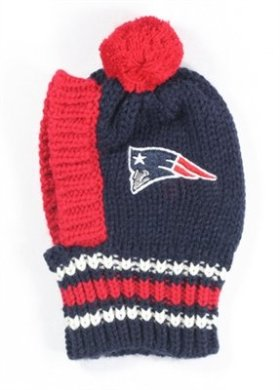 New England PATRIOTS Official NFL Licensed Pet Ski Hat w/Pom Pom in Size Small (fits dogs from 6 lbs up to approx 18 lbs)