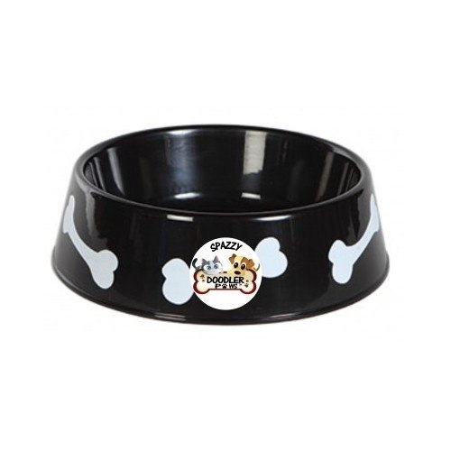 Dog Food Bowl Large Black Plastic Spazzy Doodler Paws Tm Pet Water Dish Indoor Outdoor Kennel Use Big Puppies
